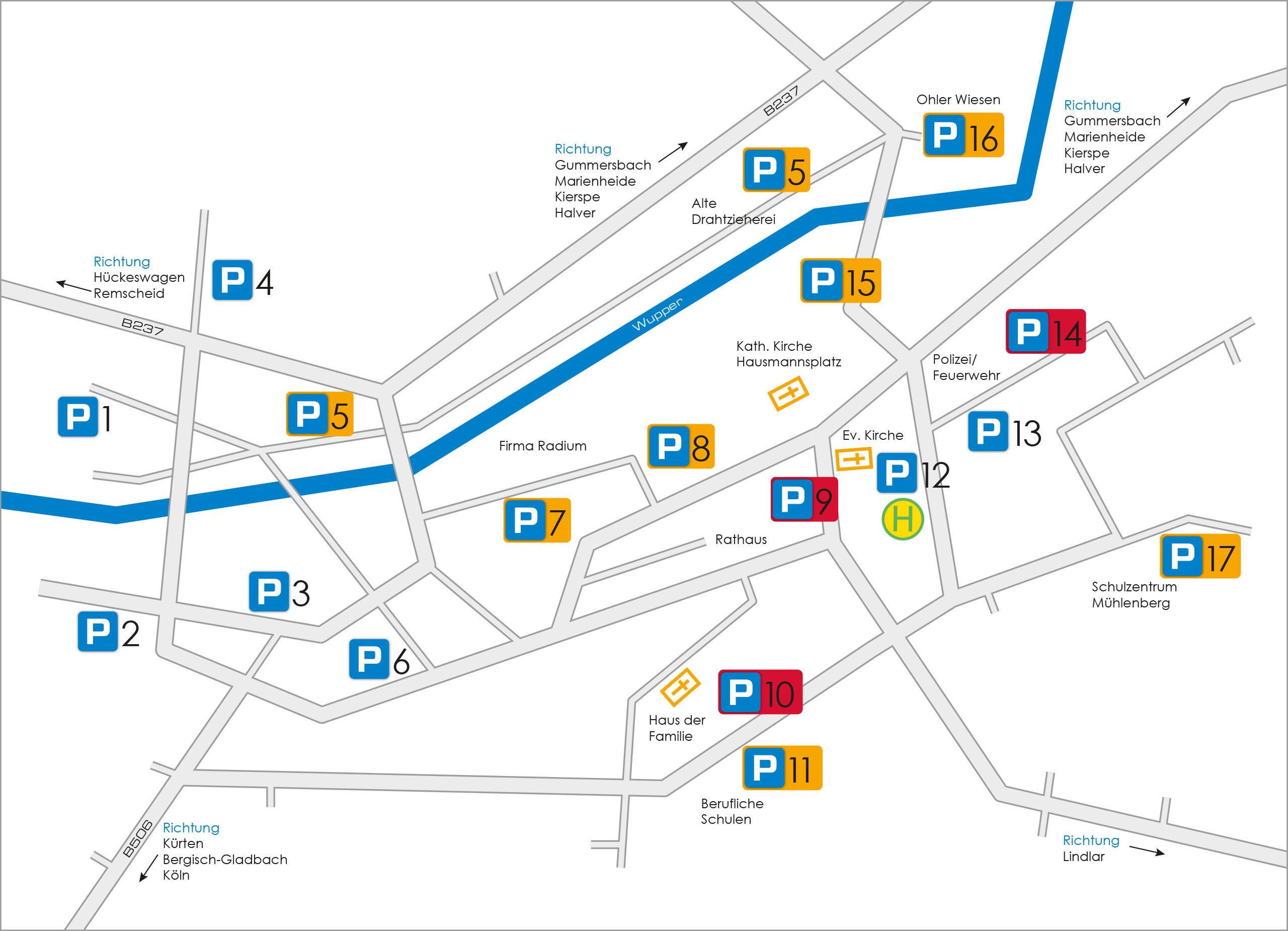 Parkplatzkarte der Stadt Wipperfürth für die 34. Westfälischen Hansetage